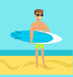 Surfer walking on the beach with surfboard vector