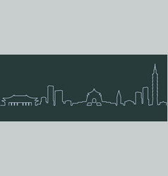 taipei single line skyline vector image