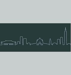 Taipei single line skyline vector
