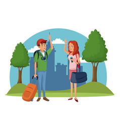 Traveler couple city tree landscape vacation vector