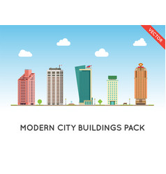 urban landscape with large modern buildings street vector image