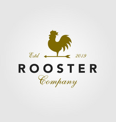 vintage rooster logo arrow icon vector image