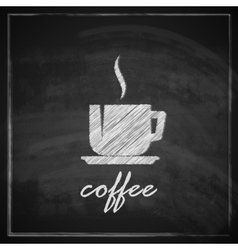 vintage with coffee cup on blackboard background vector image