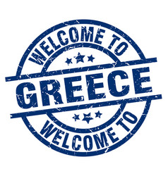 Welcome to greece blue stamp vector