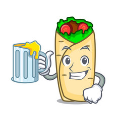 with juice burrito mascot cartoon style vector image