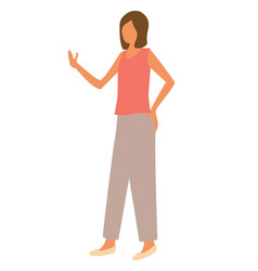 woman in sleeveless shirt and trousers side view vector image