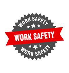 Work safety sign work safety red-black circular vector