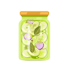 Zucchini with onion and seasonings preserved food vector