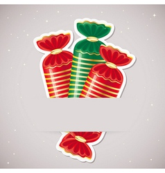 Background with candy inserted into a slot on the vector image vector image