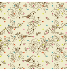 birds and flowers background vector image vector image