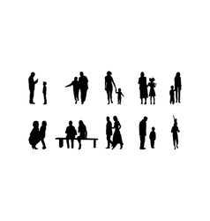 different family silhouettes vector image vector image