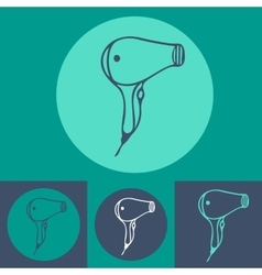 Hair dryer icon set on blue background vector image vector image