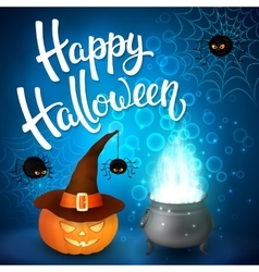 Halloween greeting card with witch cauldron hat vector image