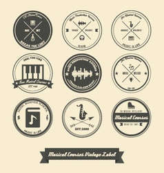 Musical Course Vintage Label vector image vector image