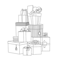big pile of wrapped gift boxes beautiful box vector image vector image
