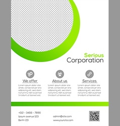 Business flyer template - green and white design vector image