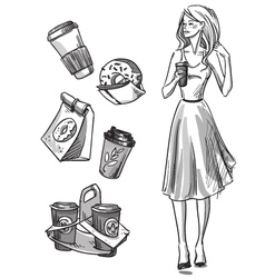 Girl having a snack vector image