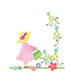 girl watering flowers in the garden vector vector image