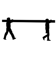 Silhouette of two construction workers carry pipe vector image vector image