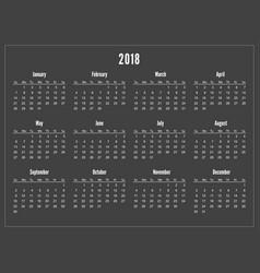 simple pocket calendar 2018 year on black vector image