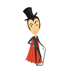 count dracula vampire in suit red cape cylinder vector image