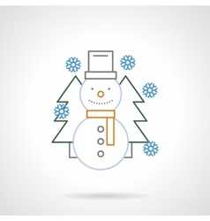 Flat color line funny snowman icon vector image vector image
