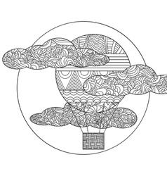 Original doodle air balloon vector image