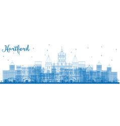 Outline hartford skyline with blue buildings vector