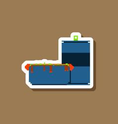 paper sticker on stylish background hotdog and vector image