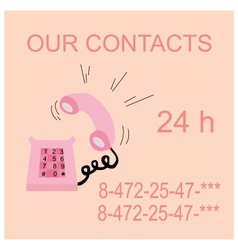 pink caller phone contacts vector image