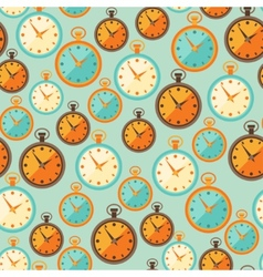 Seamless retro pattern with watches in flat style vector image vector image