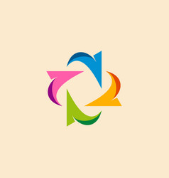 circle arrow colored business logo vector image vector image