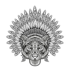 Hand Drawn patterned Tiger in zentangle style with vector image