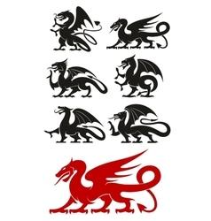Medieval black heraldic dragons animals vector image