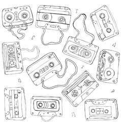 Set of retro cassette tapes vector image