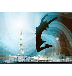 Silhouette of a Girl Jumping in Paris vector image