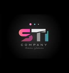 sti s t i three letter logo icon design vector image
