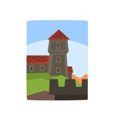 summer landscape with fairytale kingdom cartoon vector image
