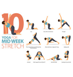 10 yoga poses for mid-week stretch concept vector