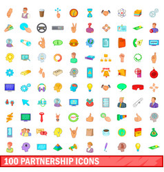 100 partnership icons set cartoon style vector