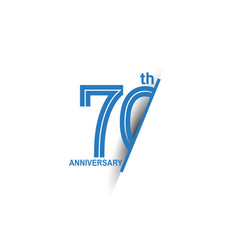 70 anniversary blue cut style isolated on white vector