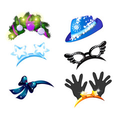 a set of hat and headbands with baubles in the vector image