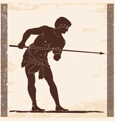 Ancient greek warrior vector