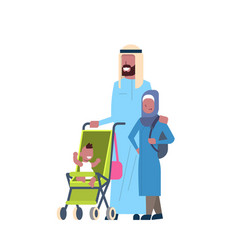 arab father daughter baby son in stroller full vector image