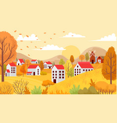 autumn village landscape countryside autumnal vector image