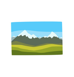 Beautiful georgian landscape with snowy mountain vector