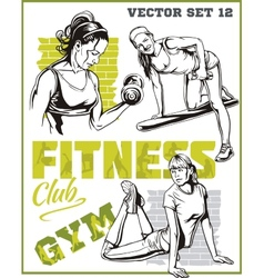 Beautiful young girls engaged in fitness vector image
