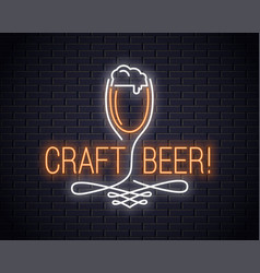 beer glass neon sign craft beer neon logo on wall vector image
