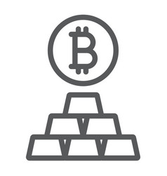 bitcoin vs gold line icon finance and money vector image