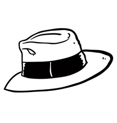 black and white freehand drawn cartoon hat vector image